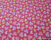 Flannel Fabric - Prize Bows Fuschia - By the yard - 100% Cotton Flannel
