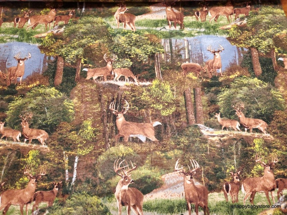 Flannel Fabric - Deer in Woods - By the yard - 100% Cotton Flannel