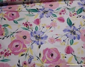 Flannel Fabric - Large Pretty Floral - By the yard - 100% Cotton Flannel