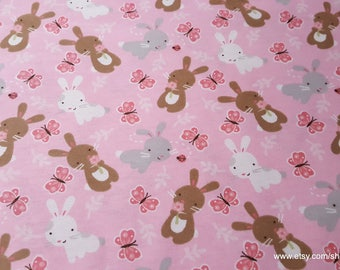 Flannel Fabric - Bunnies and Butterflies - By the yard - 100% Cotton Flannel