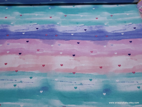 Flannel Fabric - Hearts on Pastel Tie Dye - By the yard - 100% Cotton Flannel