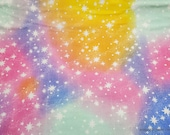 Flannel Fabric - Stars on Multi Color Tie Dye - By the Yard - 100% Cotton Flannel