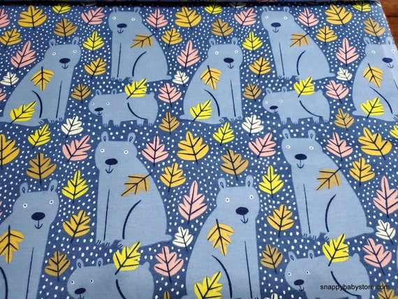 Flannel Fabric - Fall Foliage Bears - By the yard - 100% Cotton Flannel