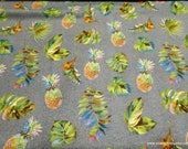 Flannel Fabric - Watercolor Pineapple Luxe - By the yard - 70% Rayon, 30 Cotton Luxe Flannel Fabric