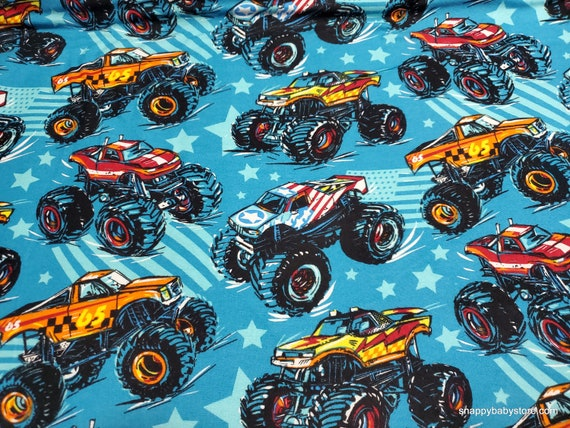 Flannel Fabric - Monster Trucks - By the yard - 100% Cotton Flannel
