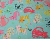 Flannel Fabric - Bubblegum Kitty - By the yard - 100% Cotton Flannel