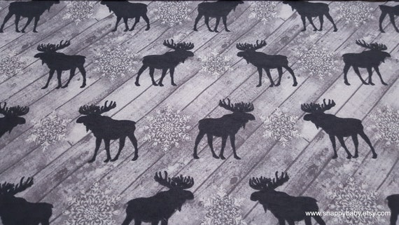 Flannel Fabric - White Wood Panel Moose - By the yard - 100% Cotton Flannel