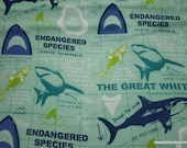 Flannel Fabric - Shark Facts - By the yard - 100% Cotton Flannel