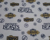 Character Flannel Fabric - Fantastic Beasts Sayings and Symbols - By the yard - 100% Cotton Flannel