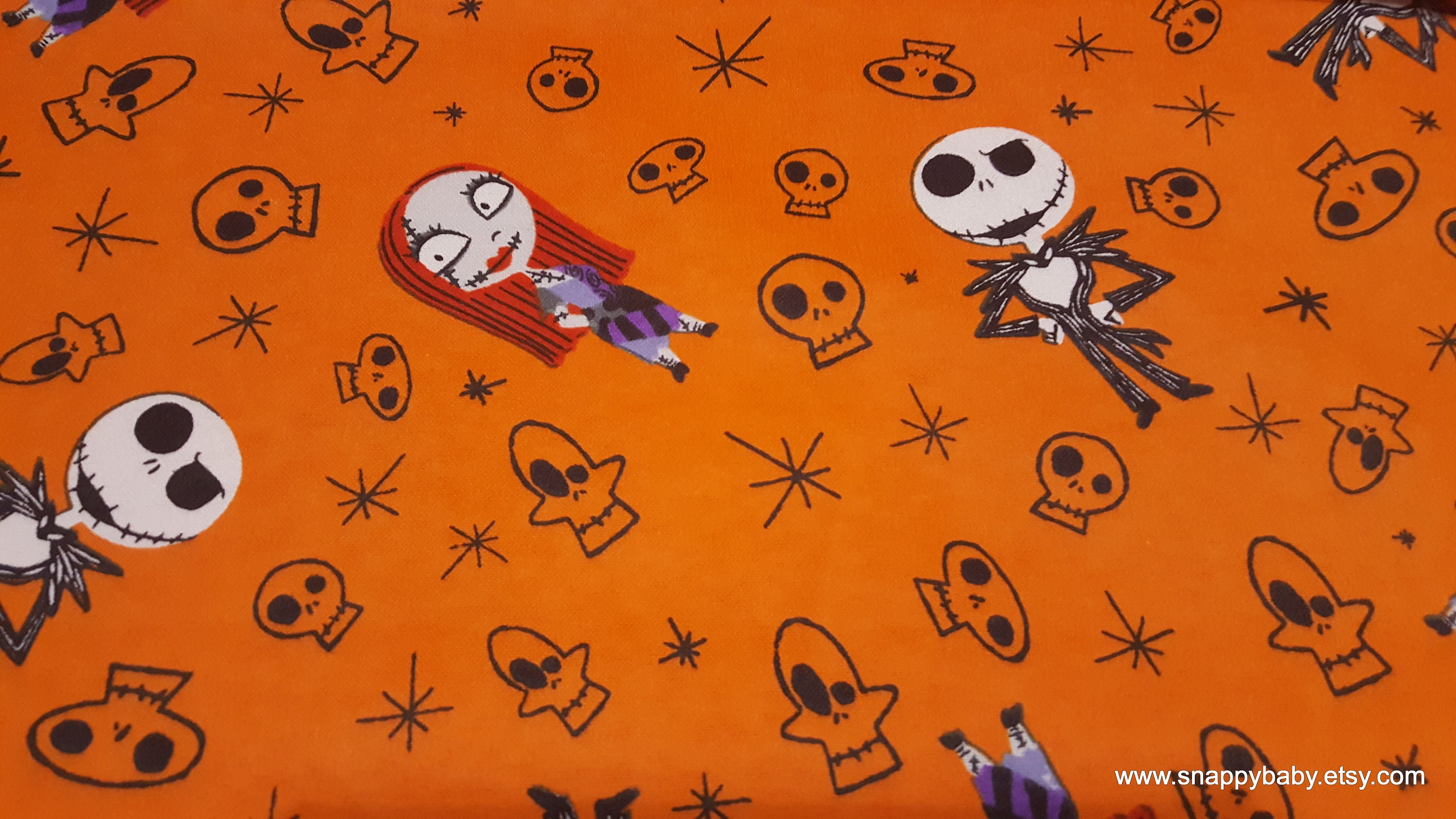 Character Flannel Fabric Nightmare Before Christmas Skulls   Etsy