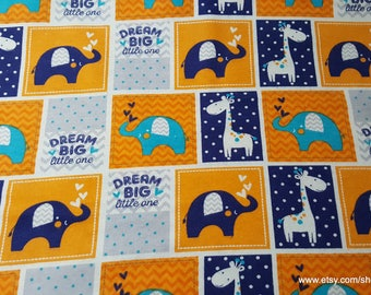 Flannel Fabric - Dream Big Patch Navy - By the yard - 100% Cotton Flannel