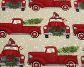 Christmas Flannel Fabric - Red Truck Christmas Tree - By the Yard - 100% Cotton Flannel