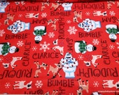 Character Christmas Flannel Fabric - Rudolph Character Names - By the Yard - 100% Cotton Flannel