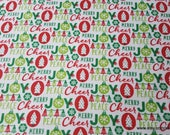 Christmas Flannel Fabric - Cheer Joy Peace Merry - By the yard - 100% Cotton Flannel