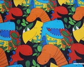 Flannel Fabric - Dinos on Black - By the yard - 100% Cotton Flannel
