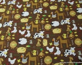 Flannel Fabric - Farm Animals on Brown - By the yard - 100% Cotton Flannel