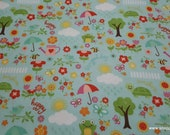 Flannel Fabric - Bloom Where You're Planted April Showers Aqua - By the yard - 100% Cotton Flannel