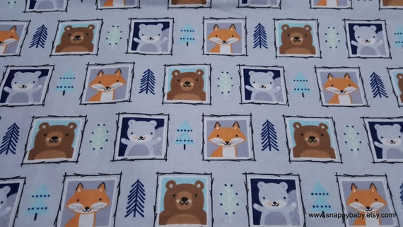 Flannel Fabric - Eamon Framed Faces - By the yard - 100% Cotton Flannel