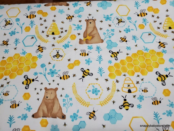 Flannel Fabric - Bear and Honey - By the yard - 100% Cotton Flannel