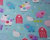 Flannel Fabric - Barnyard Buds - By the yard - 100% Cotton Flannel