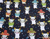 Flannel Fabric - Mariachi Dogs on Black - By the yard - 100% Cotton Flannel