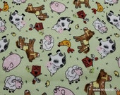 Flannel Fabric - Green Barnyard - By the yard - 100% Cotton Flannel