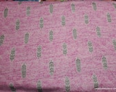 Flannel Fabric - Feathers Pink Heather Luxe - By the yard - 70% Rayon, 30 Cotton