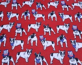 Flannel Fabric - Uncle Sam French Bulldog - By the yard - 100% Cotton Flannel