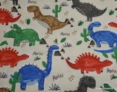 Flannel Fabric - Watercolor Dinos - By the yard - 100% Cotton Flannel