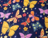 Flannel Fabric - Butterflies Flowers Navy - By the yard - 100% Cotton Flannel