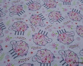 Flannel Fabric - Lamb Tossed - By the yard - 100% Cotton Flannel
