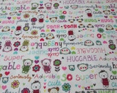 Flannel Fabric - Huggable Bright Bears and Flowers - By the yard - 100% Cotton Flannel