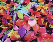 Flannel Fabric - Bright Flowers on Black Luxe - By the yard - 70% Rayon, 30 Cotton Luxe Flannel Fabric