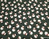 Christmas Premium Flannel Fabric - Jingle Bell Crossroads Snowman Green Premium - By the yard - 100% Premium Cotton Flannel
