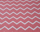 Flannel Fabric - Chevron Coral - By the yard - 100% Cotton Flannel
