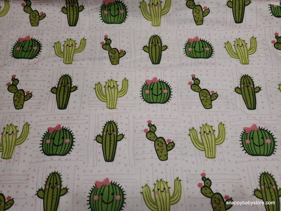 Flannel Fabric - Cactus Smiling Friends - By the yard - 100% Cotton Flannel