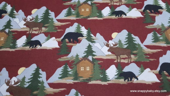 Flannel Fabric - Cabin Scene Red - By the yard - 100% Cotton Flannel