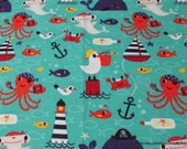 Flannel Fabric - Pirate Sea Creatures - By the yard - 100% Cotton Flannel