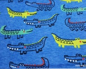 Flannel Fabric - Reptiles on Blue - By the yard - 100% Cotton Flannel