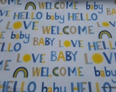 Flannel Fabric - Welcome Baby Words Blue - By the yard - 100% Premium Cotton Flannel