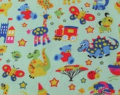 Flannel Fabric - Zoo Light Green - By the yard - 100% Cotton Flannel