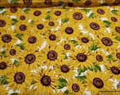 Flannel Fabric - Packed Sunflowers - By the yard - 100% Cotton Flannel