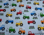Flannel Fabric - Tractors on Light Blue - By the yard - 100% Cotton Flannel