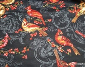 Flannel Fabric - Cardinals on Black - By the yard - 100% Cotton Flannel