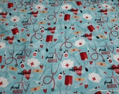 Flannel Fabric - Coffee and Scrubs - By the yard - 100% Cotton Flannel