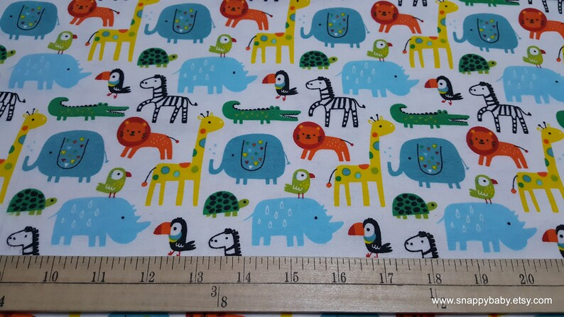 Bright Safari Animals 100/% Cotton Flannel By the yard Flannel Fabric