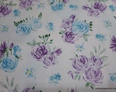 Flannel Fabric - Blue and Purple Flowers on White - By the yard - 100% Cotton Flannel