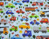 Flannel Fabric - Happy City on Light Blue - By the Yard - 100% Cotton Flannel