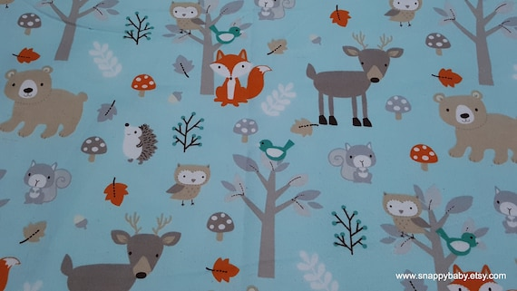 Flannel Fabric - Sweet Woodlanders - By the yard - 100% Cotton Flannel
