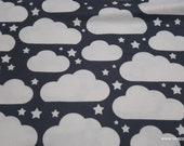 Flannel Fabric - Clouds on Gray - By the yard - 100% Cotton Flannel